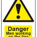 Danger Men Working On The Line