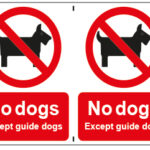 No Dogs Except Guide Dogs x2