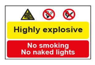 Highly explosive / No smoking No naked lights