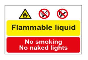Flammable liquid / No smoking No naked lights