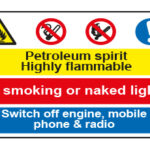 Petroleum spirit Highly flammable / No smoking or naked lights / Switch off engine, mobile phone & radio
