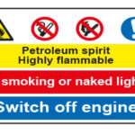 Petroleum spirit Highly flammable / No smoking or naked lights / Switch off engine