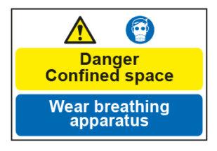 Danger Confined space / Wear breathing apparatus