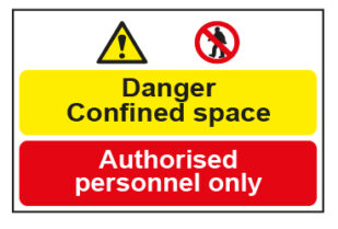 Danger Confined space / Authorised personnel only